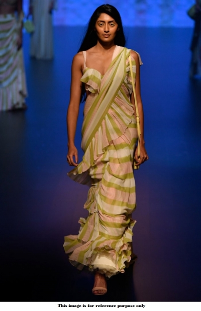Bollywood White green and peach stripes ruffle georgette saree