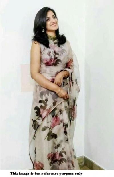 Bollywood Model pure organza digital print Grey saree