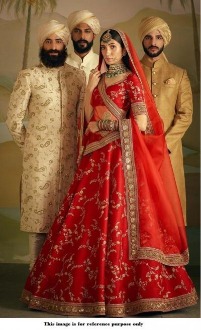Bollywood Sabyasach Inspired red Banarasi silk lehenga