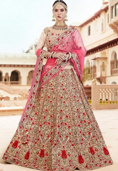 Cream banarasi silk Indian wedding lehenga