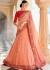 Peach color Lucknowi silk Indian wedding lehenga
