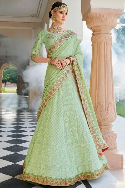 Mint green Lakhnavi silk Indian wedding lehenga