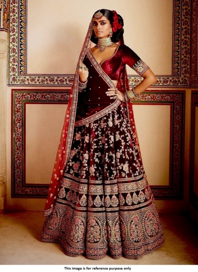 c0eddbe9d42f Buy Bollywood Sabyasachi Inspired Maroon Bridal lehenga choli in ...
