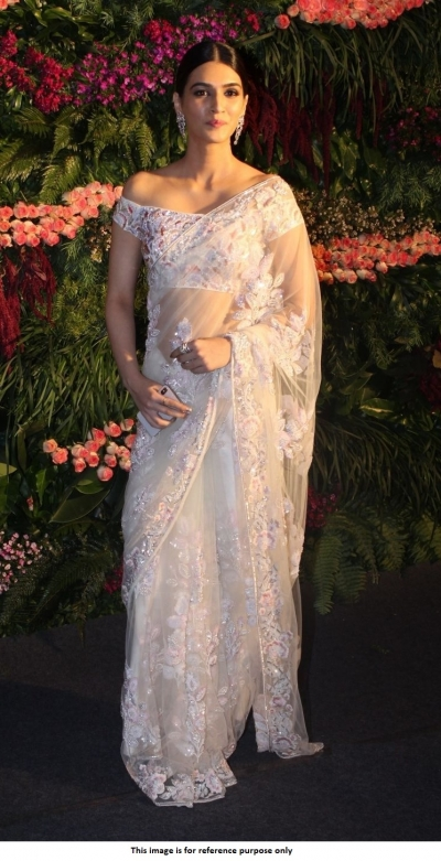 Bollywood Kriti Sanon White Virushka wedding reception Net saree