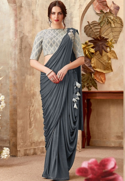 Grey color Lycra party wear saree