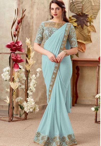 Fresh water blue designer party wear saree