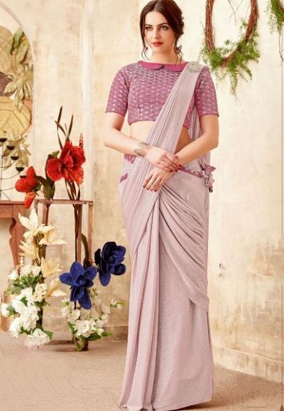 Dewy color lycra party wear saree