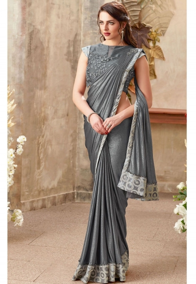 Grey color lycra designer party wear saree