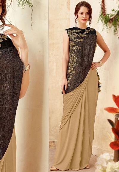 Beige and black designer party wear Saree