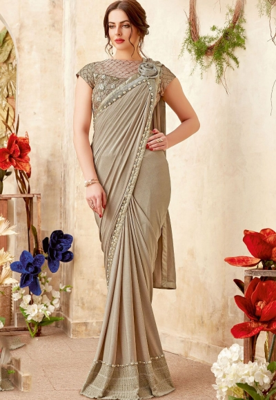 Beige shimmery fancy party wear saree