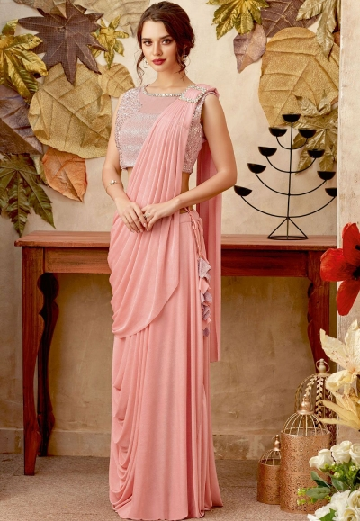 Light rose designer party wear saree
