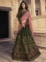 Mehandi green pink silk Indian wedding lehenga choli 904