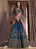 Blue pink silk Indian wedding lehenga choli 905