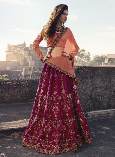 Magenta peach silk Indian wedding lehenga choli 906