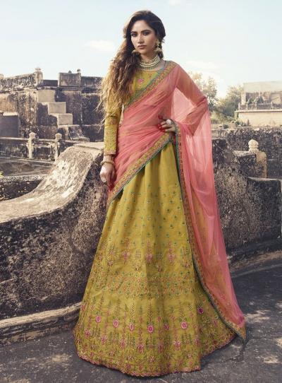 Mustuard peach silk Indian wedding lehenga choli 907