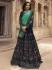 Navy blue green silk Indian wedding lehenga choli 908