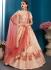 Peach satin silk Indian Wedding Lehenga choli 1702