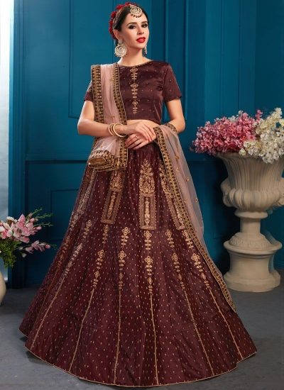 Brown satin silk Indian Wedding Lehenga choli 1703
