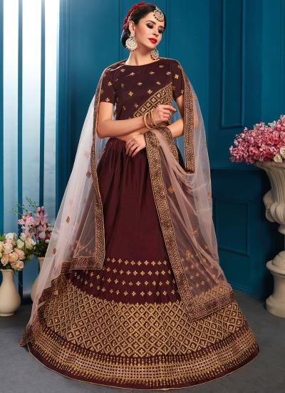 Brown satin silk Indian Wedding Lehenga choli 1704