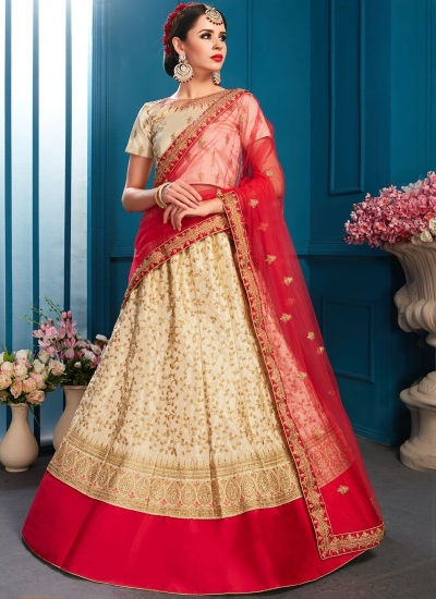 Beige satin silk Indian Wedding Lehenga choli 1705
