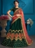 Green satin silk Indian Wedding Lehenga choli 1707