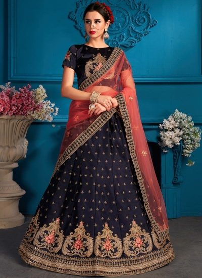 Navy blue satin silk Indian Wedding Lehenga choli 1708