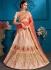 Peach satin silk Indian Wedding Lehenga choli 1710