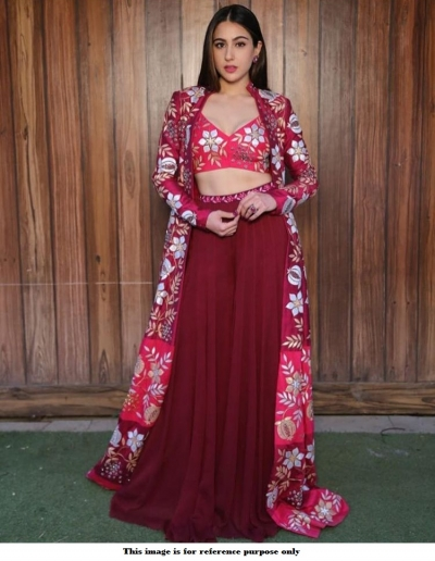 Bollywood Sara Ali Khan Maroon Koti style lehenga