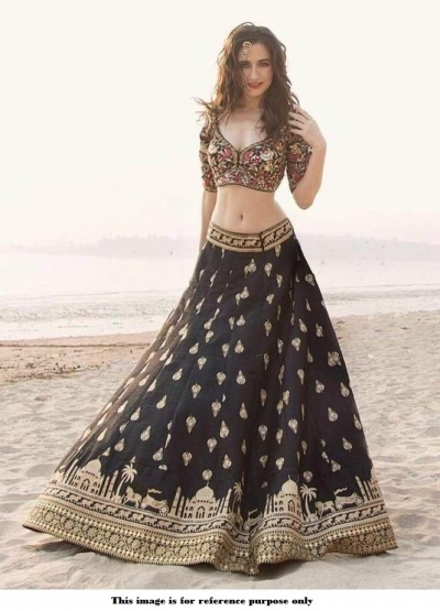 Bollywood model black tapetta silk wedding lehenga