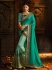 Aqua blue and green silk designer party wear saree