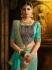 Aqua blue and green silk designer party wear saree
