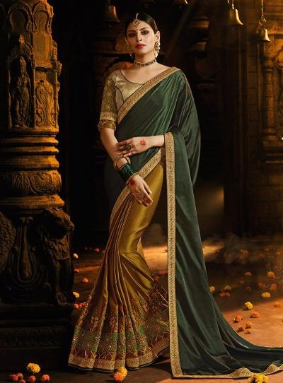 Mustuard and green satin silk designer party wear saree