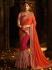 Orange and pink barfi silk designer party wear saree