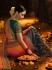 Orange and blue silk designer party wear saree