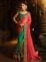 Green and pink silk designer party wear saree