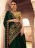 Bottle green Barfi silk Indian designer saree