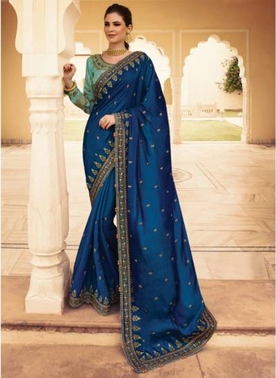 Buy Royal Blue Barfi Silk Indian Designer Saree In Uk Usa And Canada