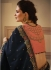 Navy blue and peach Barfi silk Indian designer Saree
