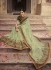 Light green Organza Indian wedding Saree