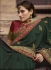 Dark green Barfi silk Indian wedding Saree