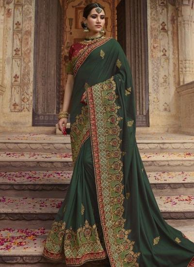 Dark green Barfi silk Indian wedding Saree