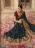 Dark blue and red barfi silk Indian wedding Saree