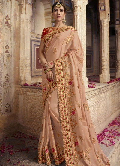 Peach color gulmohar silk Indian wedding Saree