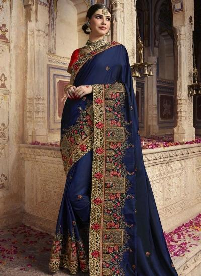Navy blue and red barfi silk Indian wedding Saree