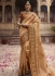 Beige and orange organza Indian wedding Saree