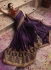 Dark purple barfi silk Indian wedding Saree