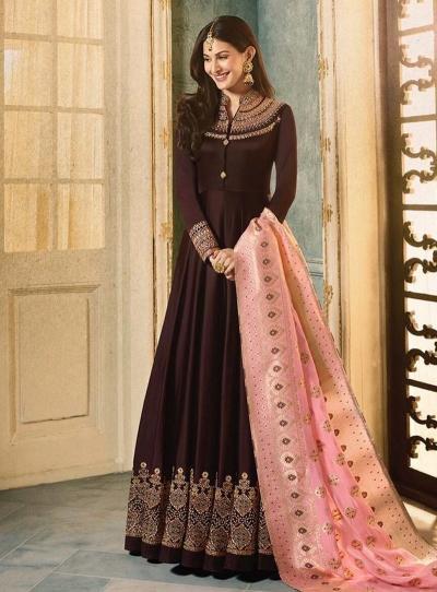 Amyra Dastur Brown color georgette wedding wear Anarkali