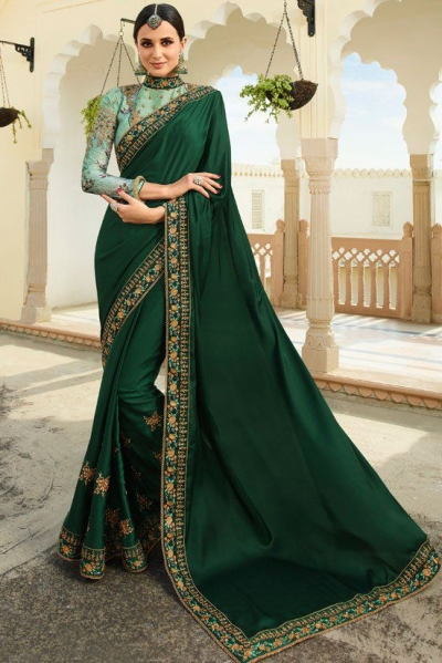 Green Color Barfi silk saree Indian wedding saree double blouse