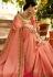 Peach Color Barfi silk saree Indian wedding saree double blouse