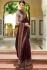 Wine Color Barfi silk saree Indian wedding saree double blouse
